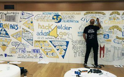 Un mural gigante para un Hackaton